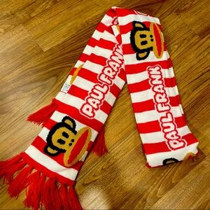 """Paul Frank"" red and white scarf"